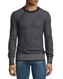Long-Sleeve Crewneck Ribbed Sweater, Black/Pale Gray Melange