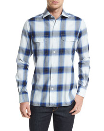 Grand Check Classic-Fit Sport Shirt, Blue/White