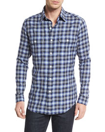 Large Plaid Tailored-Fit Sport Shirt, Purple/White