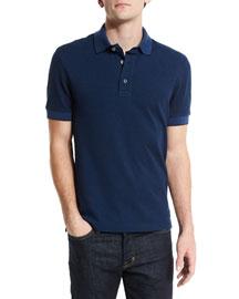 Short-Sleeve Pique Oxford Polo Shirt, Blue