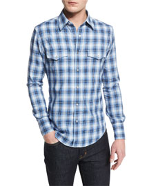 Western-Style Check Sport Shirt, Blue