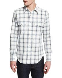 Western-Style Large-Check Sport Shirt, Indigo