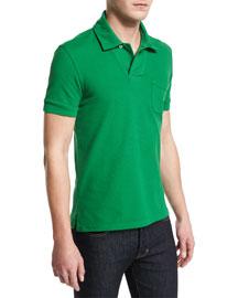 Short-Sleeve Pique Polo Shirt, Green