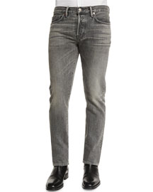 Straight-Fit Faded Wash Denim Jeans, Gray