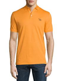 Embroidered-Pony Short-Sleeve Pique Polo Shirt, Orange