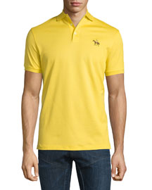 Embroidered-Pony Short-Sleeve Pique Polo Shirt, Gold