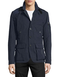 Twill Button-Front Sport Coat Jacket, Navy