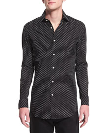 Dot-Print Long-Sleeve Sport Shirt, Black/White