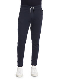 Jersey Track Pants with Contrast Side-Stripe, Navy
