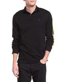 Long-Sleeve Pique Polo Shirt with Contrast Trim, Black