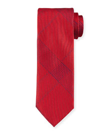 Solid Plaid Silk Tie, Red