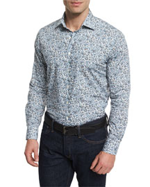 Multi Floral-Print Long-Sleeve Sport Shirt, Multicolored