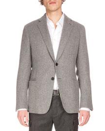 Textured Cashmere Two-Button Jacket, Medium Gray Melange