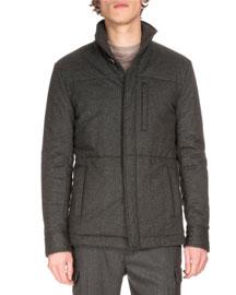 Lightweight Wool Puffer Jacket, Gray