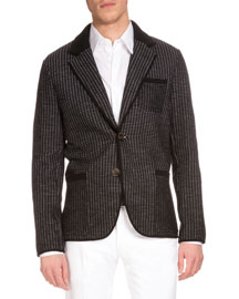 Dotted Wool Sport Coat, Black Scorpion