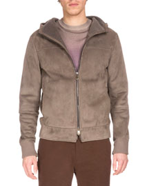Hooded Suede Bomber Jacket, Railroad
