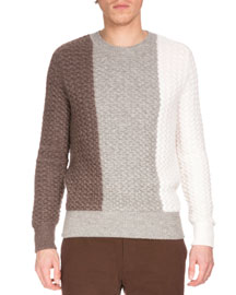 Colorblock Large-Knit Long-Sleeve Sweater, Fancy Salt Lake
