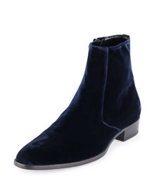 Eddie Side-Zip Velvet Boot, Navy
