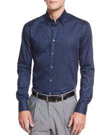 Tonal Plaid Long-Sleeve Sport Shirt, Navy