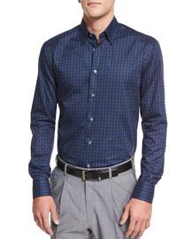 Tonal Plaid Long-Sleeve Sport Shirt, Navy