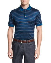 Check Short-Sleeve Polo Shirt, Gray