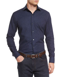 Micro Floral-Print Long-Sleeve Sport Shirt, Navy