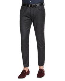Five-Pocket Stretch-Wool Pants, Charcoal