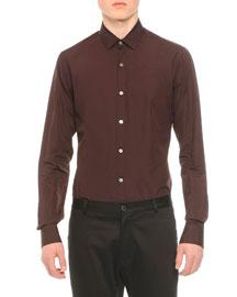 Long-Sleeve Woven Sport Shirt, Wine