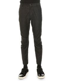 Woven Flannel Moto-Style Pants