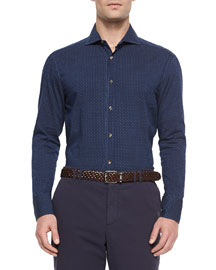 Medallion Print Denim Sport Shirt, Navy