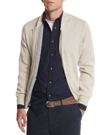 Double-Face Cashmere Zip-up Sweater, Gray