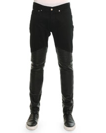Denim Pants with Leather Trim, Black