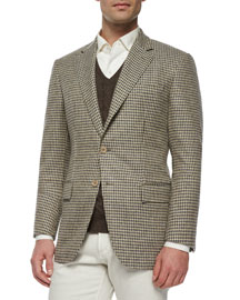 Madrid Check Cashmere Sport Coat, Light Brown
