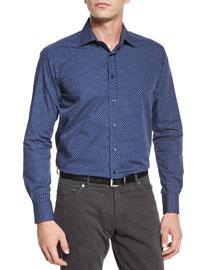 Mini Paisley-Print Woven Shirt, Navy