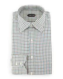Tattersall Sport Shirt, Black/Teal/White