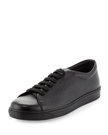 Stamped Leather Low-Top Sneaker, Black
