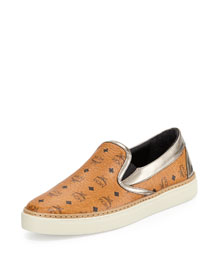 Visetos Monogrammed Slip-On Sneaker, Cognac