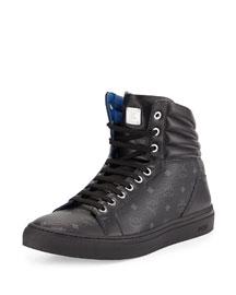 Monogrammed Leather High-Top Sneaker, Black