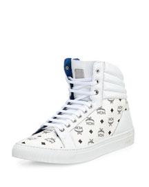 Monogrammed High-Top Sneaker, White