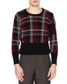 Tartan Plaid Crewneck Sweater, Navy