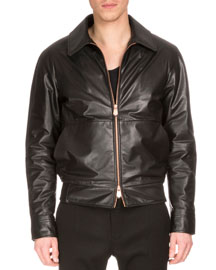 Zip-Front Leather Jacket W/Embroidered Back, Black