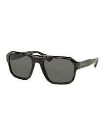 Square Acetate Gradient Sunglasses, Gray