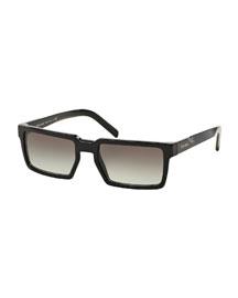 Thick-Rim Rectangular Sunglasses, Black