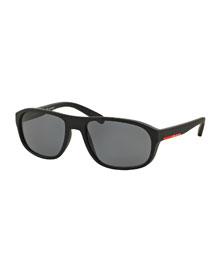 Rectangular Nylon Sunglasses, Black