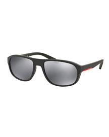 Rectangular Nylon Sunglasses, Gray