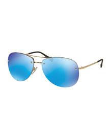 Rimless Metal Aviator Sunglasses, Blue/Gunmetal