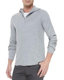 Slub-Knit Hooded Henley, Gray