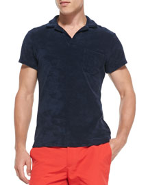 Terry Towel Polo with Pocket, Navy