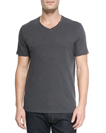 Basic Slub V-Neck T-Shirt, Dark Gray