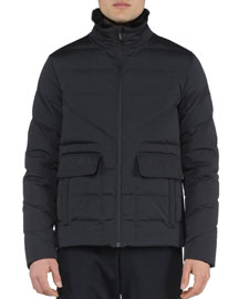 Basic Nylon Puffer Jacket, Black